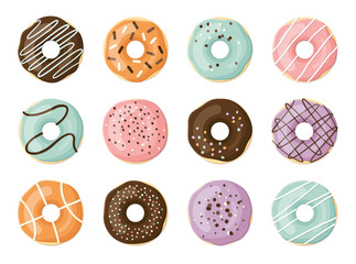 Sweet vector donuts set