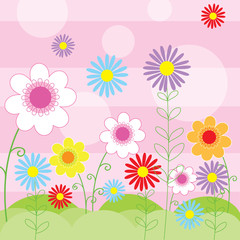 floral background with cute flower design