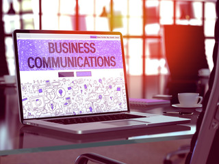 Business Communications Concept - Closeup on Landing Page of Laptop Screen in Modern Office Workplace. Toned Image with Selective Focus. 3D Render.