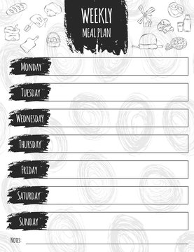 Vector illustration of colorful design food list for a week. It can be used as a poster, greeting card, invitation, printed materials. Scrapbooking. Diet. Vector