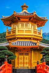 Front View The Golden Pavilion Temple in Nan Lian Garden