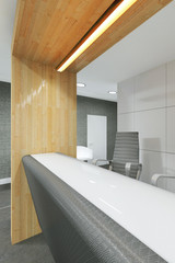 office lobby and corridor with a reception desk
