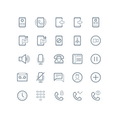 Phone, devices and communication vector line icons