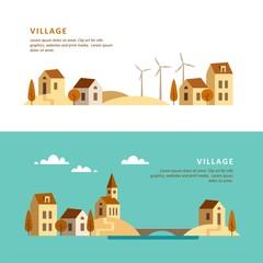 Village. Rural landscape. Vector illustration.
