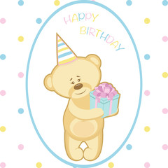 Bear with gift for birthday