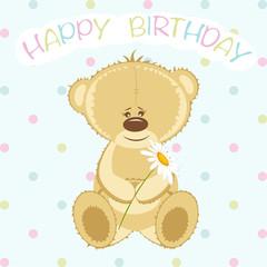 Bear with flower on birthday