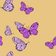 Seamless pattern with lilac butterflies on pastel beige background. Hand drawn vector illustration.