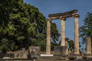 Ionic columns in Olympia archeological site, Greece