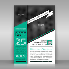 Business flyer with white ribbon. Paper sheet on gray background. Poster, invitation, letter design. Place for pictures included. Vector template.