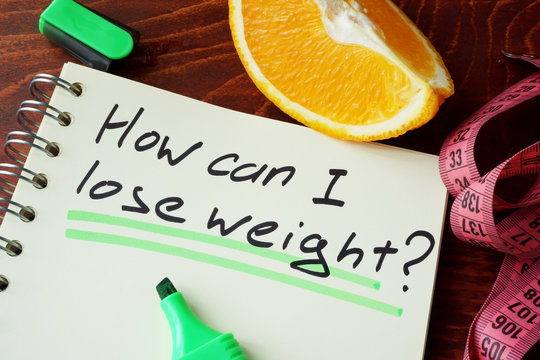 Notepad with sign how can I lose weight.
