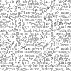 Lettering types of coffee seamless pattern