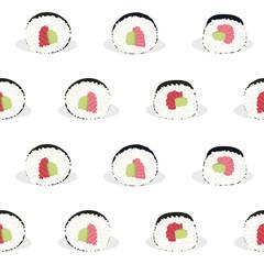Sushi rolls. Illustration. Seamless pattern.