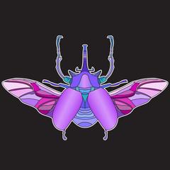 Bright big beetle. Print for shirts.
