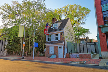 Betsy Ross house and Hanging American Flag in Philadelphia PA