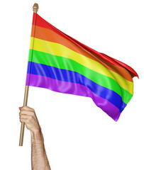 Hand proudly waving a rainbow flag in solidarity with LGBT community, 3D rendering