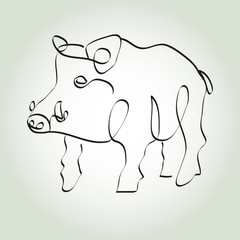 Wild boar pig in minimal line style vector