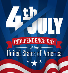 American independence day design. Fourth of July banner