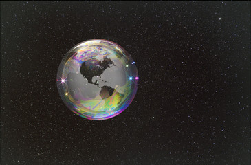 Fragile bubble Earth with a stellar backdrop.