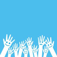 Mains smiley-fond bleu