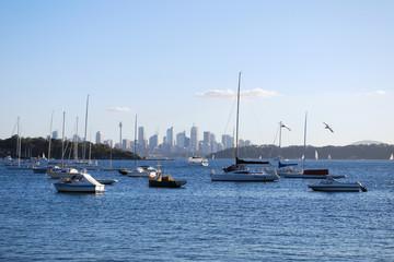 Segelschiffe mit Skyline von Sydney