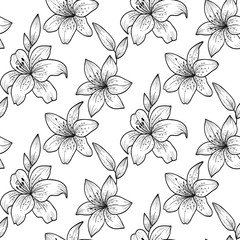 Black and white lilies.Vector seamless pattern
