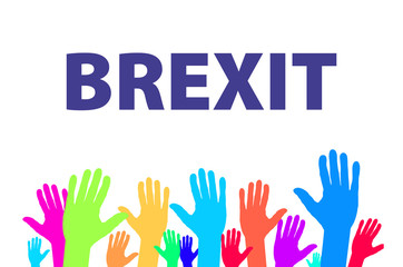 Brexit Text Isolated vector colorfull hand