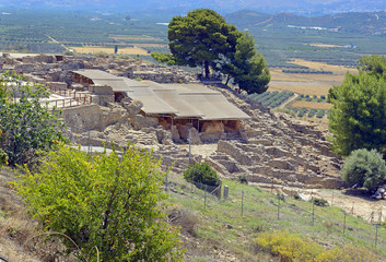 Old walls of Faistos, 1700-1450 BC. The ruins of the Minoan palaces and cities Faistos is a archaeological site on the Mediterranean island of Crete, UNESCO tentative list, Greece