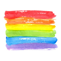 Rainbow texture, symbol of gay pride. Vector watercolor spectrum. Hand drawn paint strokes isolated on white background.