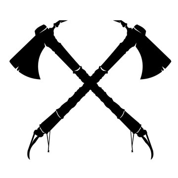Vector illustration of two crossed American Indian Tomahawk axes. 