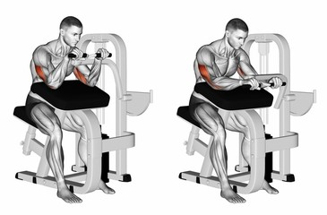 Selectorized Triceps Extension. Exercising for bodybuilding. Target muscles are marked in red. Initial and final steps. 3D illustration