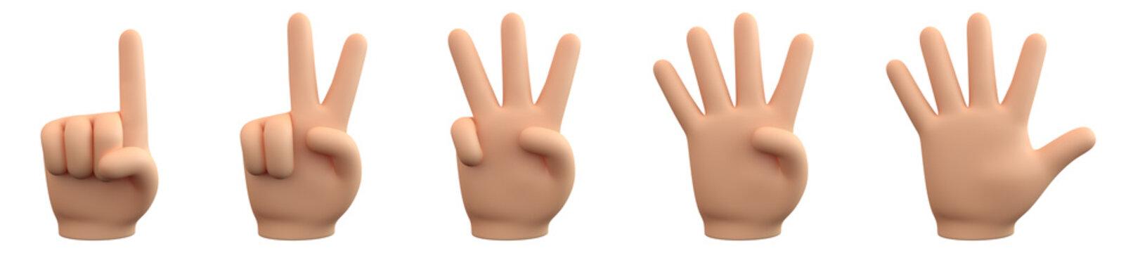 Handzeichen für Zahlen - eins, zwei, drei, vier, fünf