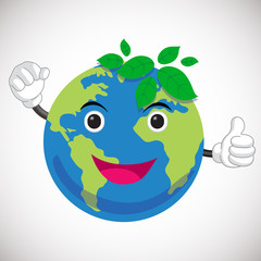 green earth cartoon character. earth mascot