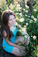 woman in a white flower field