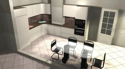 interior design 3D rendering modern kitchen with dining area