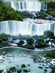Collage of  Iguazu falls in Brazil and Argentina images - travel