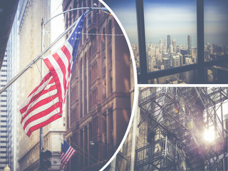 Collage of Chicago ( USA ) images - travel background (my photos