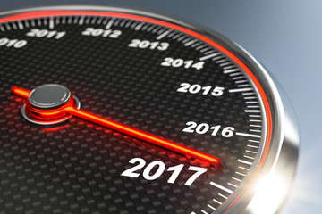Tachometer zeigt die Jahreszahlen der Vergangenheit und der Zukunft. Das Jahr 2017 steht uns bevor.