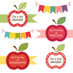Cute Back to School theme labels as apple mini frames with ribbons and bunting can be used for photo album decoration, as photo booth props, for scrapbooking etc