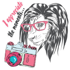 A beautiful lion with a camera. King of beasts. Vector  for greeting card, poster, or print on clothes.