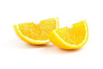 Two fresh orange slices isolated on white background