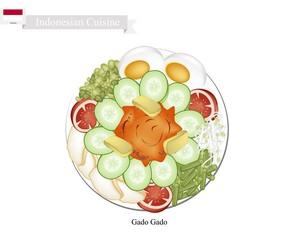 Gado Gado or Indonesian Vegetable Salad with Peanut Sauce