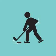 Ice Hockey Player Symbol Vector Illustration.