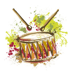 Drum with splashes in watercolor style. Hand drawn vector illustration
