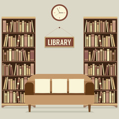 Empty Reading Seat In Library Vector Illustration.