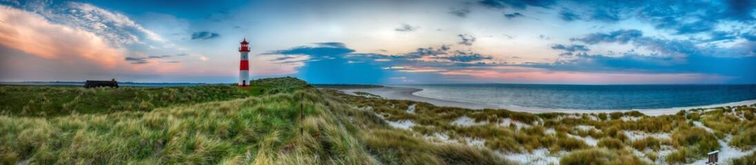Fototapete - Sylt am Strand Panorama Abendstimmung am Leuchtturm
