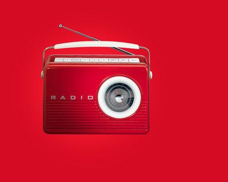Red Retro Vintage Radio on red