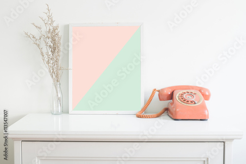 mock up poster on table in pantone color stock photo and royalty