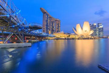 Singapore city skyline at Twilight time