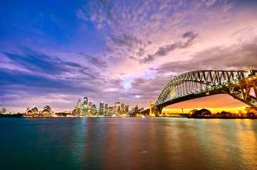 Panorama of Sydney Harbour at sunset
