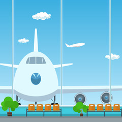 Waiting Room in Airport , View on Airplane through the Window from a Waiting Room , Travel Concept, Flat Design, Vector Illustration